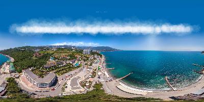 Ялта аэропанорама над пляжем Дельфин